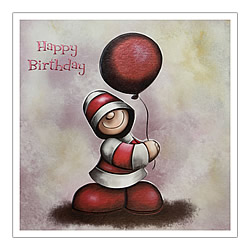 Happy Birthday Card (Single Red Balloon)